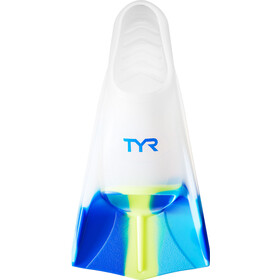 TYR Stryker Palmes en silicone XXL, currant, blue/yellow/clear